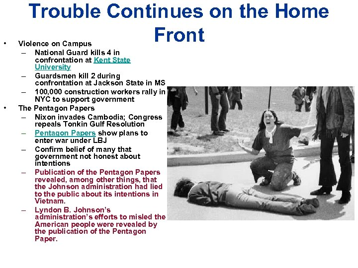 • • Trouble Continues on the Home Front Violence on Campus – National