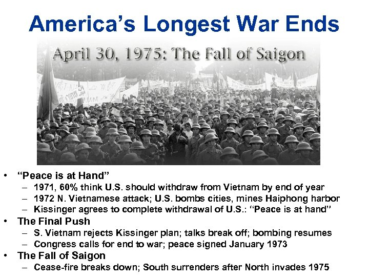 """America's Longest War Ends • """"Peace is at Hand"""" – 1971, 60% think U."""