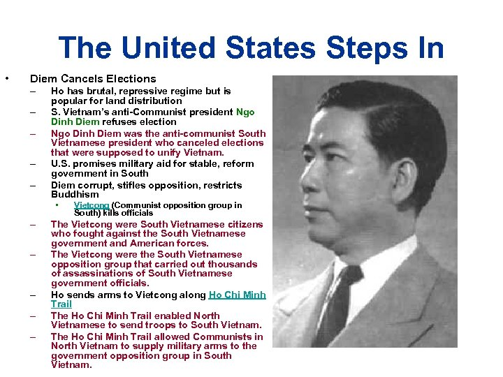 The United States Steps In • Diem Cancels Elections – – – Ho has