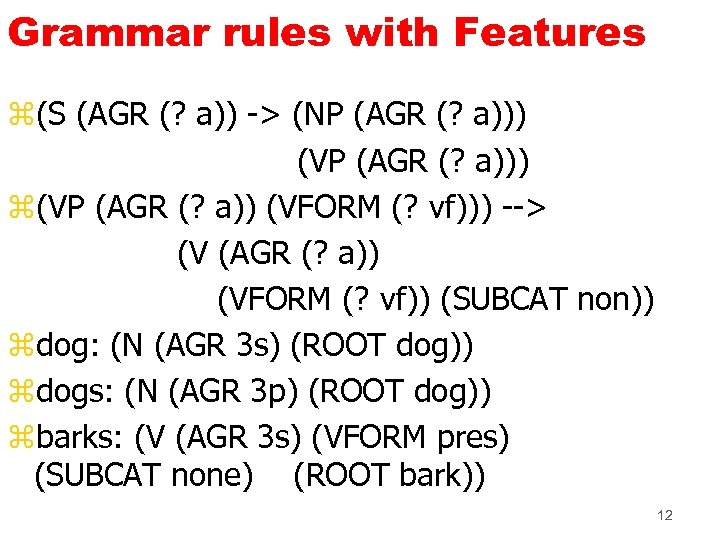 Grammar rules with Features z(S (AGR (? a)) -> (NP (AGR (? a))) (VP