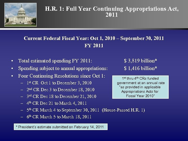 H. R. 1: Full Year Continuing Appropriations Act, 2011 Current Federal Fiscal Year: Oct
