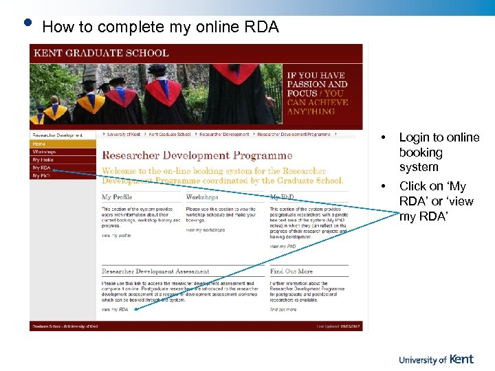 • How to complete my online RDA • Login to online booking system