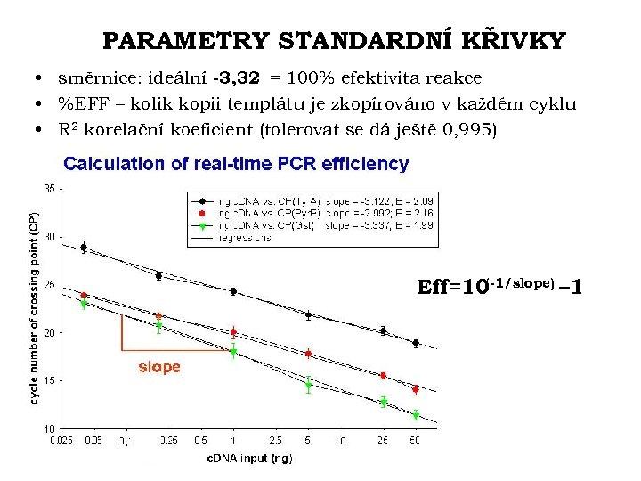 PARAMETRY STANDARDNÍ KŘIVKY • směrnice: ideální -3, 32 = 100% efektivita reakce • %EFF
