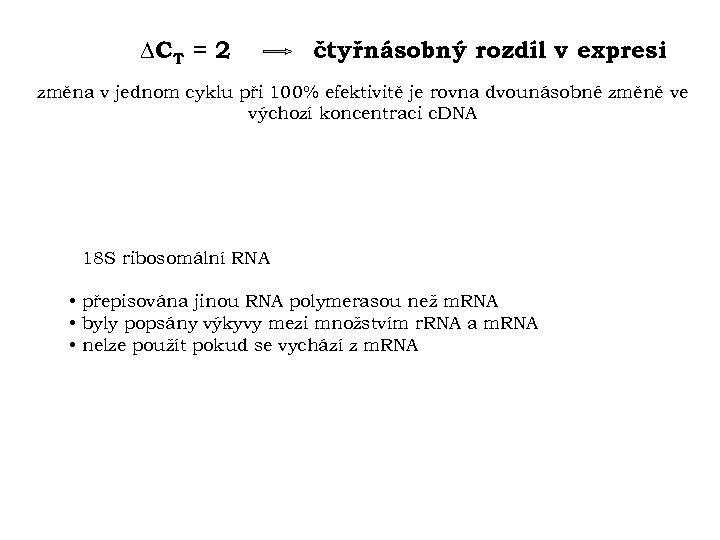 CT = 2 čtyřnásobný rozdíl v expresi změna v jednom cyklu při 100%