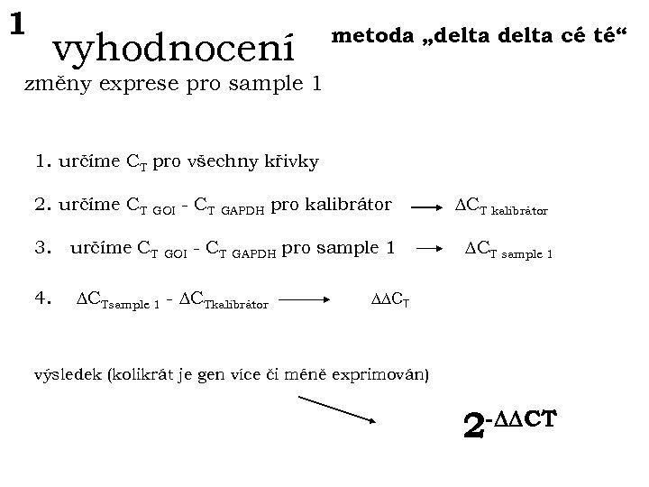 """1 vyhodnocení metoda """"delta cé té"""" změny exprese pro sample 1 1. určíme CT"""