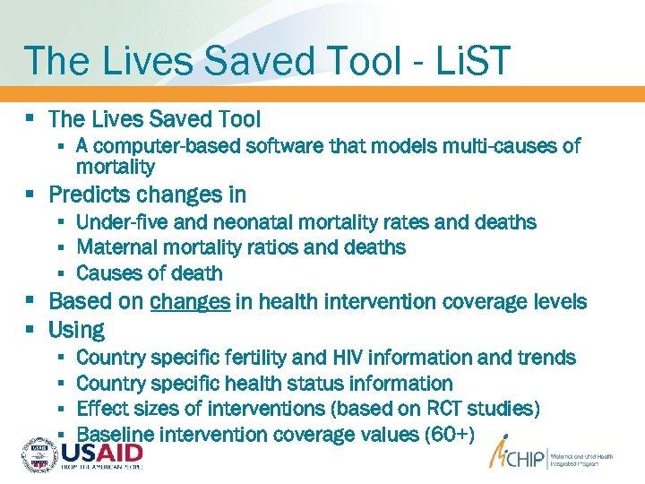 The Lives Saved Tool - Li. ST § The Lives Saved Tool § A