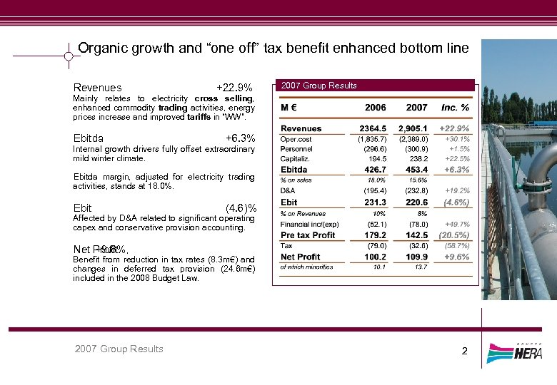 """Organic growth and """"one off"""" tax benefit enhanced bottom line Revenues +22. 9% 2007"""