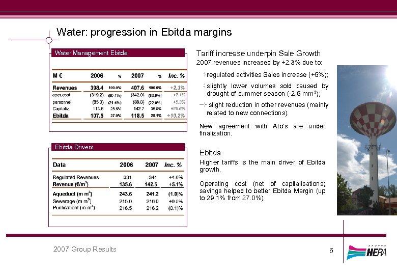 Water: progression in Ebitda margins Water Management Ebitda Tariff increase underpin Sale Growth 2007