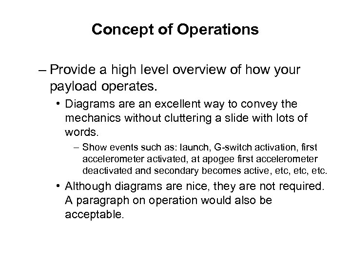 Concept of Operations – Provide a high level overview of how your payload operates.