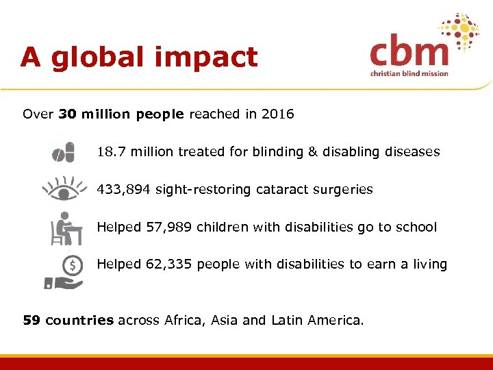 A global impact Over 30 million people reached in 2016 18. 7 million treated