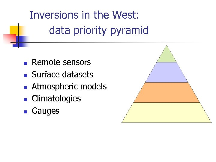 Inversions in the West: data priority pyramid n n n Remote sensors Surface datasets