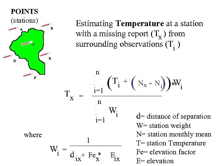 POINTS (stations) Estimating Temperature at a station with a missing report (Tx ) from