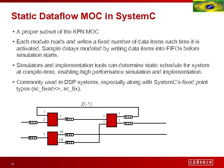 Static Dataflow MOC in System. C • A proper subset of the KPN MOC