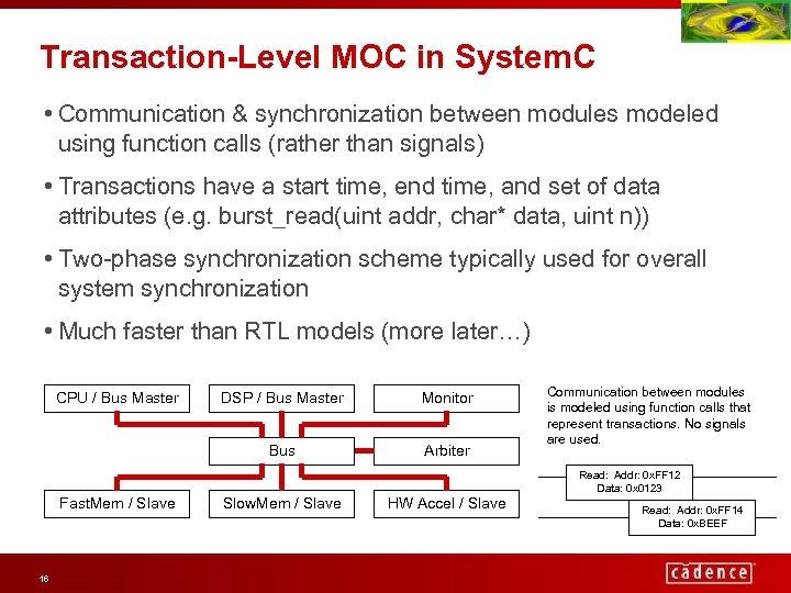 Transaction-Level MOC in System. C • Communication & synchronization between modules modeled using function