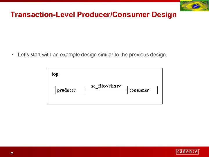 Transaction-Level Producer/Consumer Design • Let's start with an example design similar to the previous