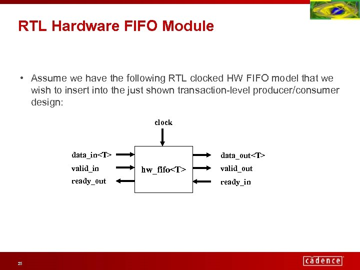 RTL Hardware FIFO Module • Assume we have the following RTL clocked HW FIFO