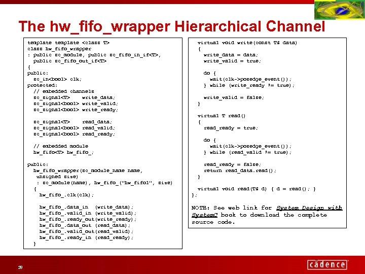 The hw_fifo_wrapper Hierarchical Channel template <class T> class hw_fifo_wrapper : public sc_module, public sc_fifo_in_if<T>,