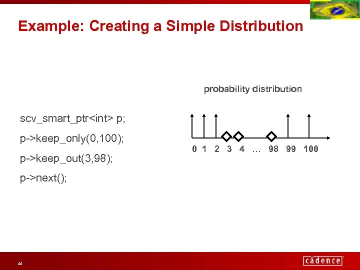 Example: Creating a Simple Distribution probability distribution scv_smart_ptr<int> p; p->keep_only(0, 100); p->keep_out(3, 98); p->next();