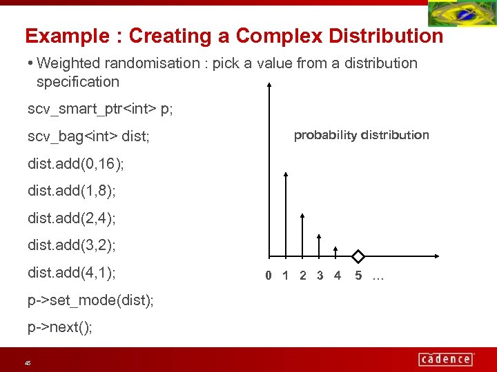 Example : Creating a Complex Distribution • Weighted randomisation : pick a value from