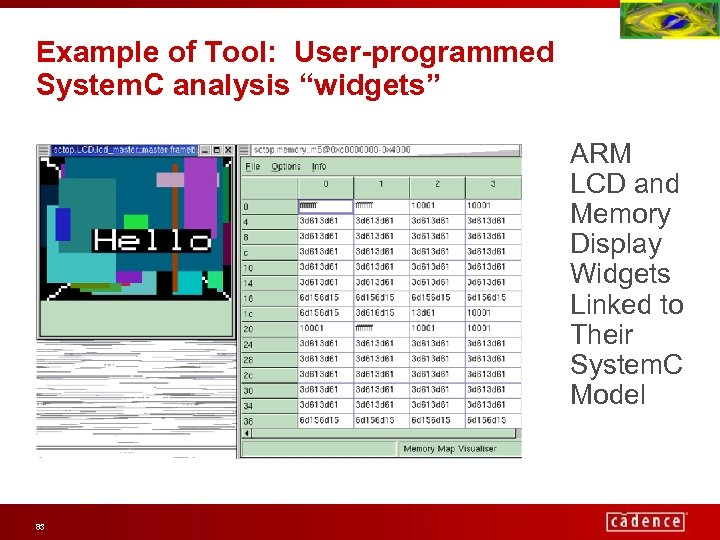 """Example of Tool: User-programmed System. C analysis """"widgets"""" ARM LCD and Memory Display Widgets"""