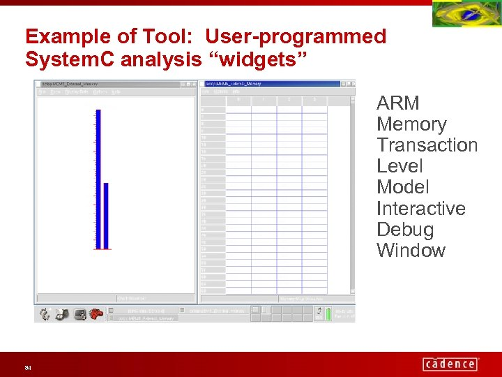 """Example of Tool: User-programmed System. C analysis """"widgets"""" ARM Memory Transaction Level Model Interactive"""