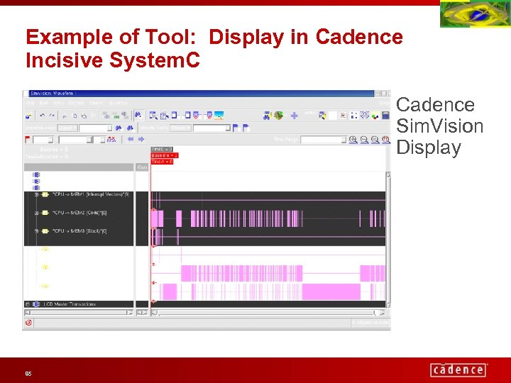 Example of Tool: Display in Cadence Incisive System. C Cadence Sim. Vision Display 85