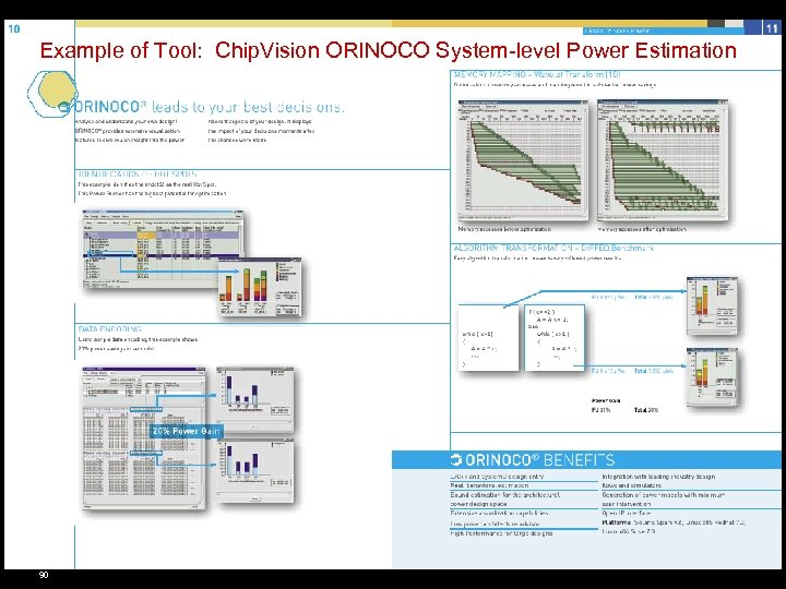 Example of Tool: Chip. Vision ORINOCO System-level Power Estimation 90