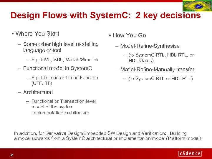 Design Flows with System. C: 2 key decisions • Where You Start – Some