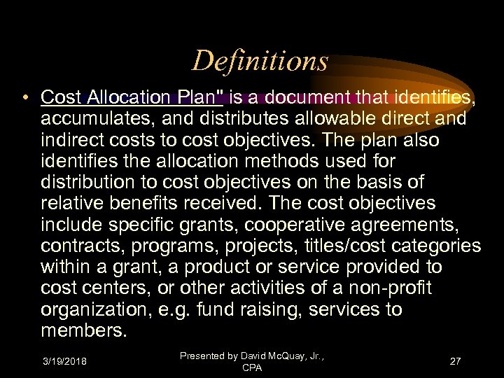 Definitions • Cost Allocation Plan