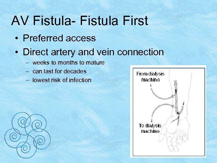 AV Fistula- Fistula First • Preferred access • Direct artery and vein connection –