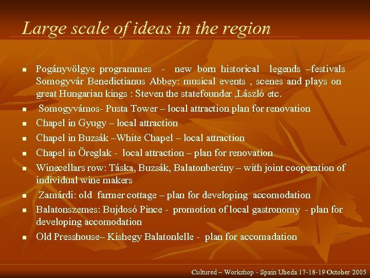 Large scale of ideas in the region n n n n Pogányvölgye programmes -