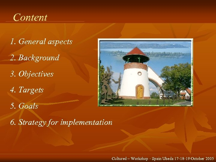 Content 1. General aspects 2. Background 3. Objectives 4. Targets 5. Goals 6. Strategy