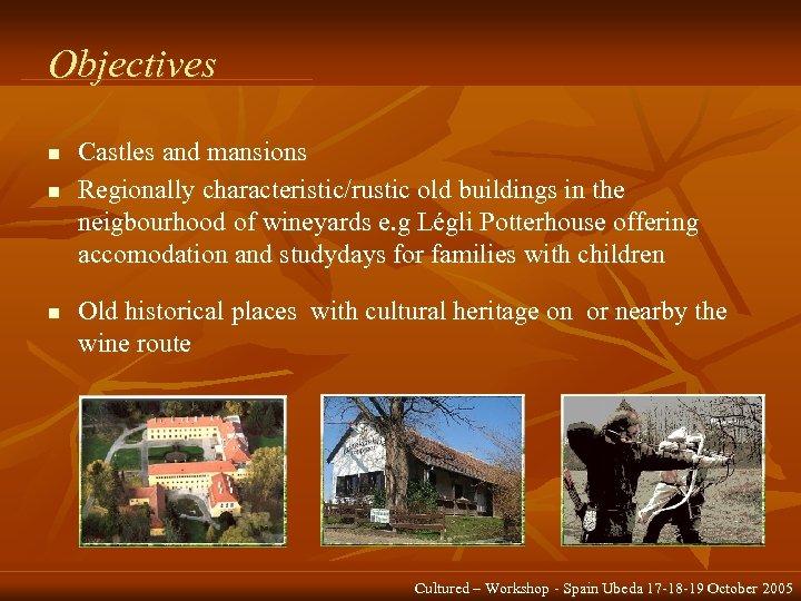 Objectives n n n Castles and mansions Regionally characteristic/rustic old buildings in the neigbourhood
