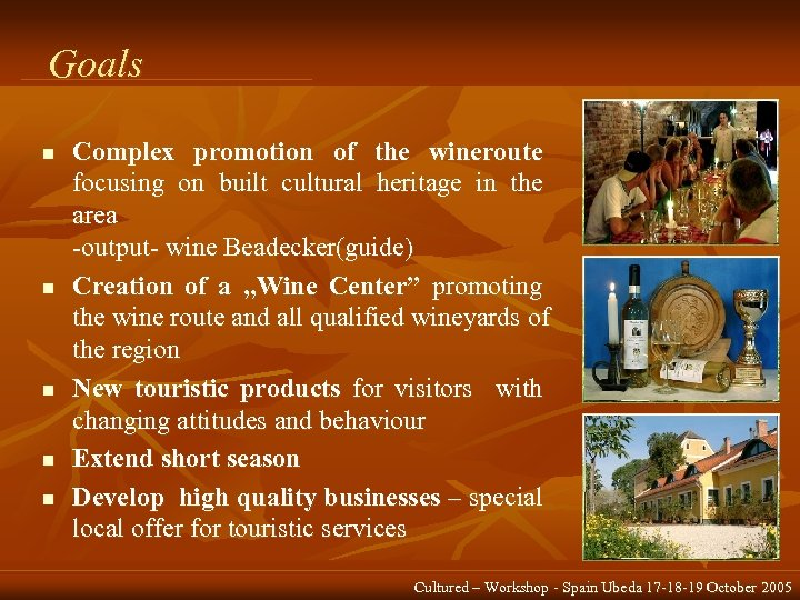 Goals n n n Complex promotion of the wineroute focusing on built cultural heritage