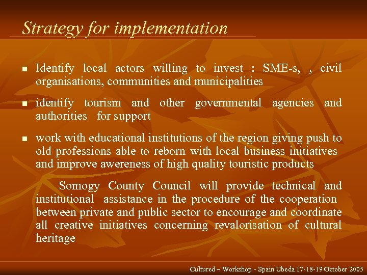 Strategy for implementation n Identify local actors willing to invest : SME-s, , civil
