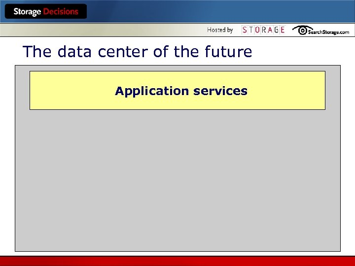 The data center of the future Application services