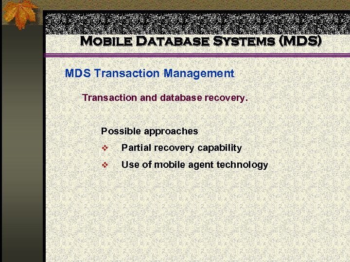 Mobile Database Systems (MDS) MDS Transaction Management Transaction and database recovery. Possible approaches v