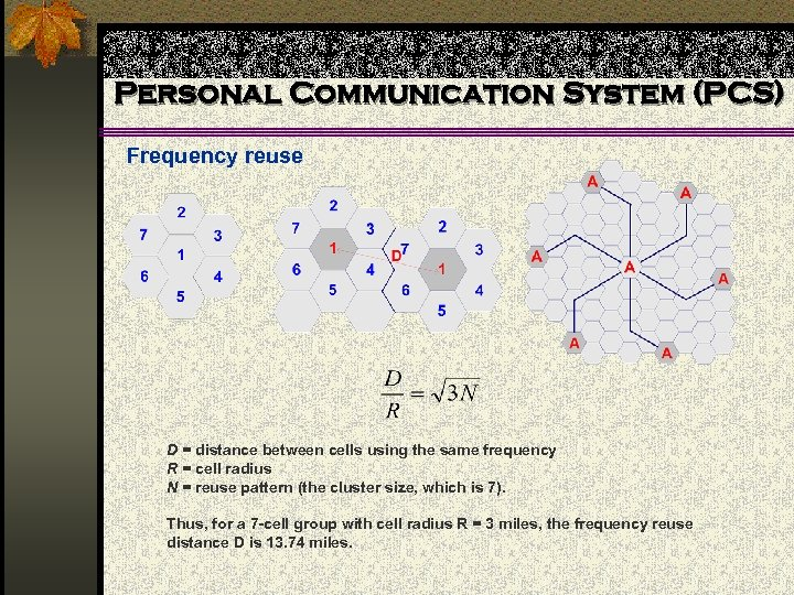 Personal Communication System (PCS) Frequency reuse D = distance between cells using the same