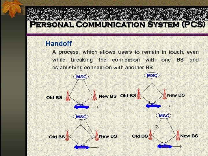 Personal Communication System (PCS) Handoff A process, which allows users to remain in touch,