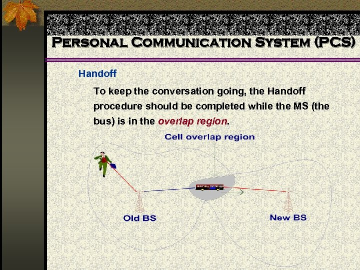 Personal Communication System (PCS) Handoff To keep the conversation going, the Handoff procedure should