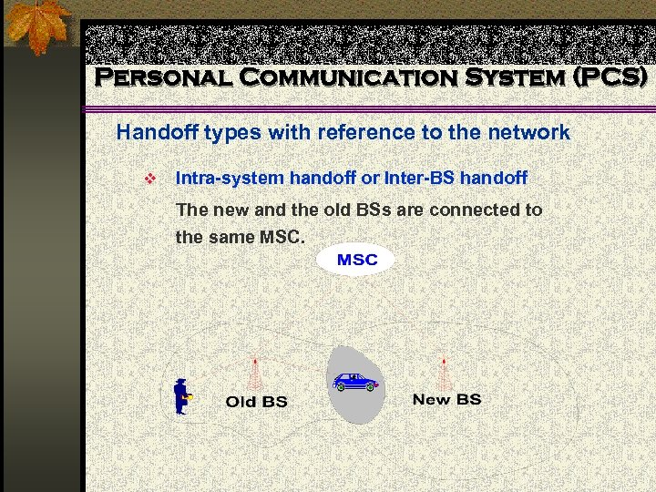 Personal Communication System (PCS) Handoff types with reference to the network v Intra-system handoff