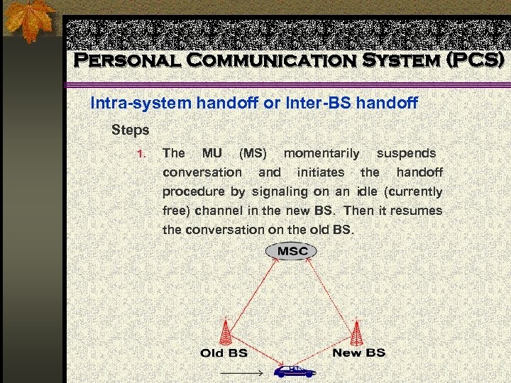 Personal Communication System (PCS) Intra-system handoff or Inter-BS handoff Steps 1. The MU (MS)