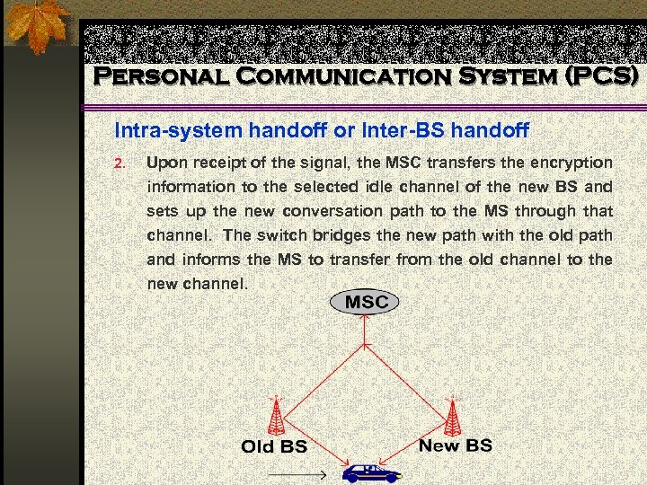 Personal Communication System (PCS) Intra-system handoff or Inter-BS handoff 2. Upon receipt of the