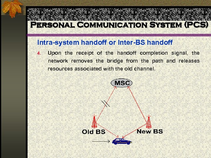 Personal Communication System (PCS) Intra-system handoff or Inter-BS handoff 4. Upon the receipt of