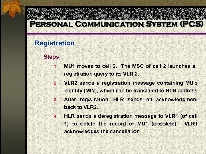 Personal Communication System (PCS) Registration Steps 1. MU 1 moves to cell 2. The