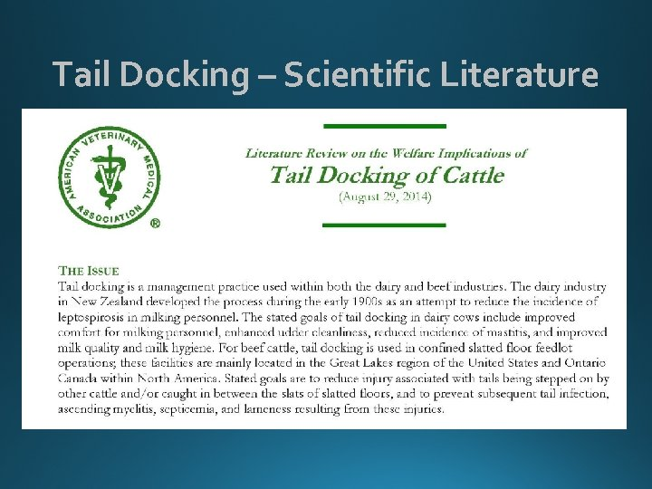 Tail Docking – Scientific Literature