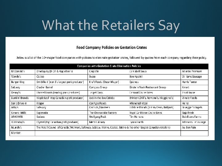 What the Retailers Say