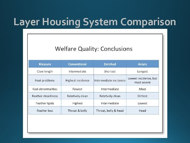 Layer Housing System Comparison