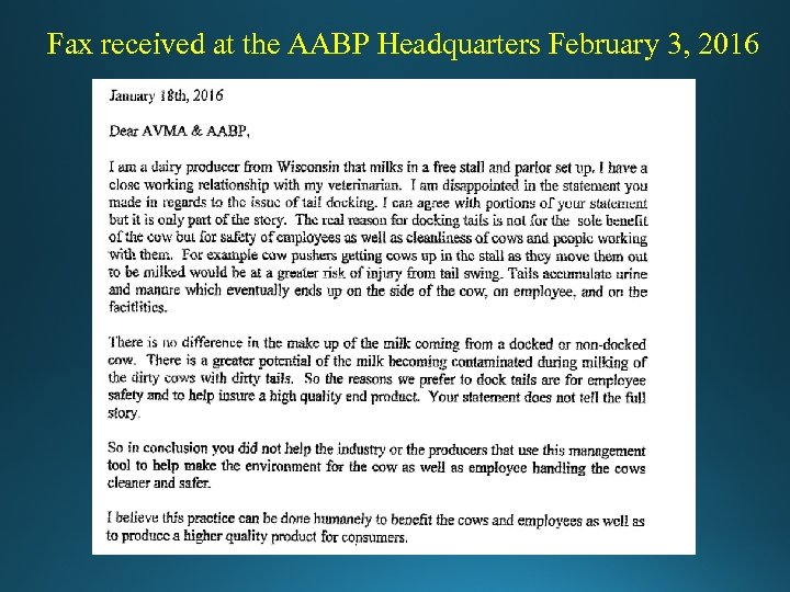 Fax received at the AABP Headquarters February 3, 2016