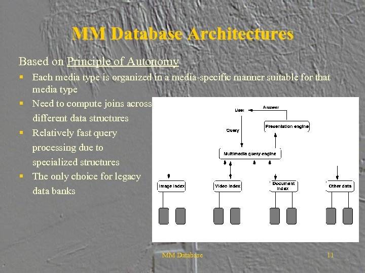MM Database Architectures Based on Principle of Autonomy § Each media type is organized